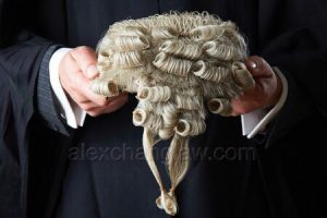 barrister holding wig
